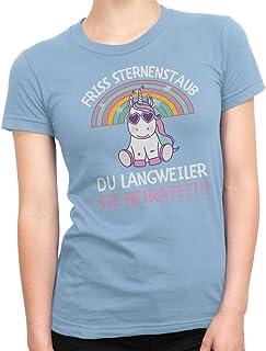 Camiseta de despedida de soltera con unicornio Friss, para mujer, cuello redondo con diseño de JGA en muchos colores, para novia