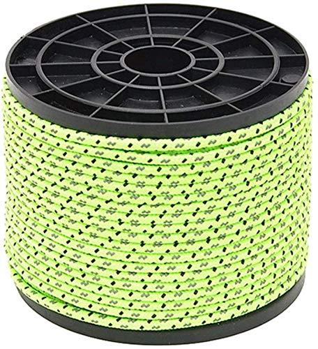 MUZIDP Camilla 50 Metros Fluorescente Verde Reflejo cepa tiendora Cuerda Cuerda Nylon Cable Paracord Supervivencia de Emergencia al Aire Libre Camping Senderismo Tienda de campaña Accesorios