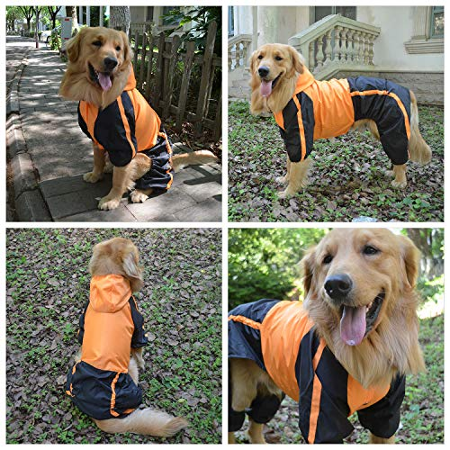 Lovelonglong Alaska Dog Hooded Raincoat, Golden Retriever Rain Jacket Poncho Waterproof Clothes with Hood Breathable 4 Feet Four Legs Rain Coats for Large Huge Dogs Orange L-XL+