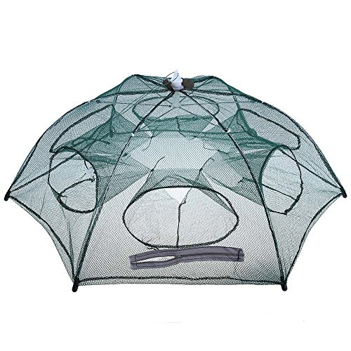BEST OF BEST Foldable Fishing Net Trap, Hexagon 6 Holes Double Zippers Automatic Fishing Bait Mesh Cage Trap for Catching Fish Shrimp Crab