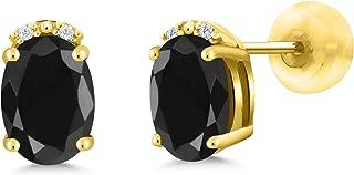 Gem Stone King 2.17 Ct Oval Black Sapphire White Diamond 10K Yellow Gold Earrings