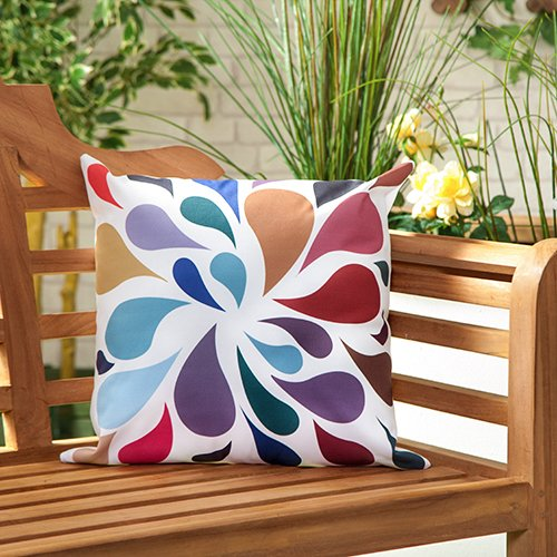 Droplets Multicolour Water Resistant Outdoor Scatter Garden Filled Cushion Printed 18