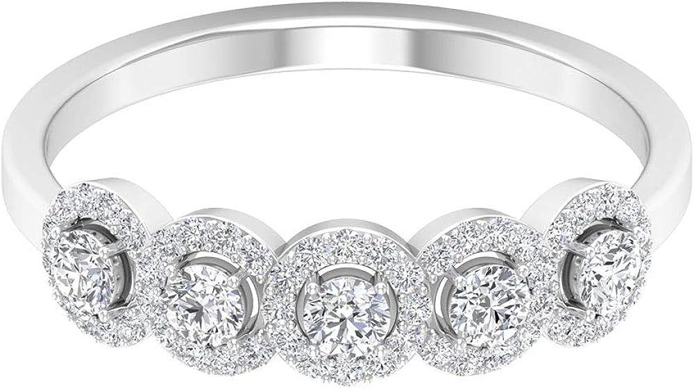 Vintage Halo Ring 1 2 CT Diamond Unique HI-SI Round 35% OFF Shaped Bri sale