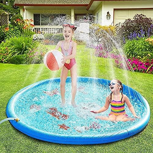 TYUXINSD Lovely Splash Pad Summer Garden Garden Spray Toys 170cm Splash Play Mat Sprinkler Pad