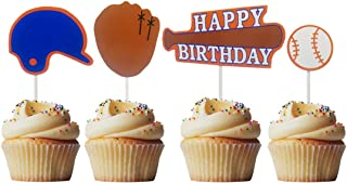Morndew 24 PCS Sports Fan with Baseball Cupcake Toppers for Theme Party Birthday Party Wedding Party Decorations