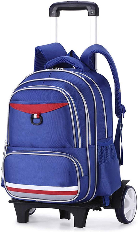 Zaino per bambini, Zaino per bambini, Scuola elementare, Zaino in nylon, Zaino impermeabile per libri, Zaino da viaggio con 6 ruote, borsaaglio rimovibile