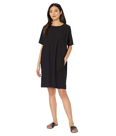 Eileen Fisher Round Neck Short Sleeve Dress (Black) Women