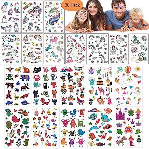 Mattelsen Tatuajes Temporales Niños Niñas Animales Unicornio 400pcs Hojas Tatuaje Falso Pegatinas Dibujos Animados para Infantiles de Cumpleaños Regalo
