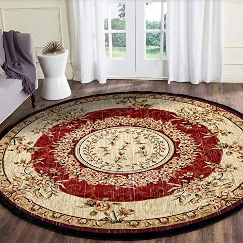 OUTGYM Luxus Vintage Runder Teppich 120 x 120 Klassischer Medaillon Teppich im Persischen Stil Orientalischen Blumenteppich Rot Wohnzimmer