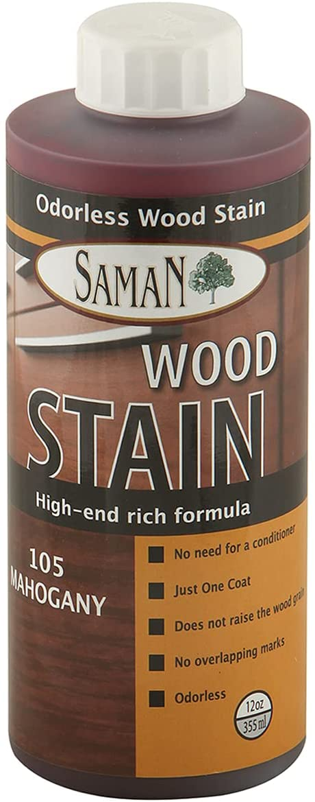 SamaN Interior Water Based Wood Stain & Natural Furniture, moldings, Wood Paneling and cabinets Stain (Mahogany TEW-105-12, 12 oz)