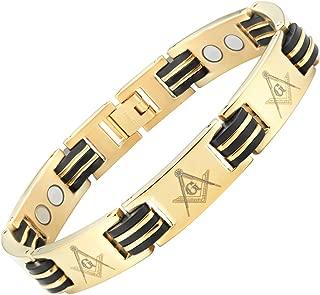 MasonicMan Titanium Freemasonry Masonic Magnetic Bracelet with Adjusting Tool and Gift Box