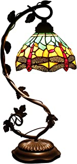 Tiffany Desk Lamp Green Yellow Stained Glass Coffee Table Reading Banker Night Light Crystal Bead Dragonfly Style Shade W8H22 Inch for Living Room Bedroom S009G WERFACTORY