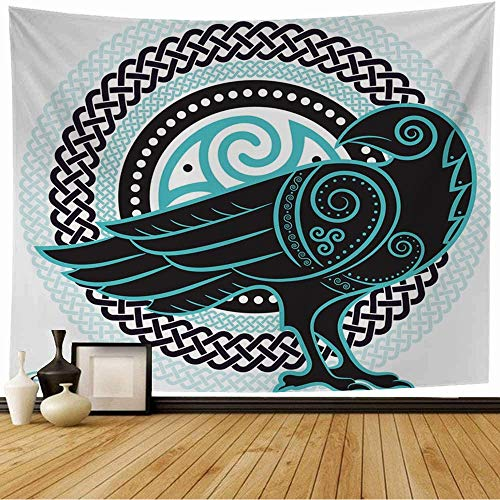 Starojan Tapestry Wall Hanging Tattoo Knot Raven Handdrawn Celtic Crow On Vintage Medieval Triskel Abstract Bird Black One Braids Tapestry Blanket Wall Bedroom Decor 80x60 Inch