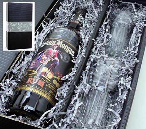 Captain Morgan Black Label Rum 40% 0,7l Set + 2 Longdrink Gläser im Geschenkkarton