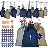 GeeRic Bolsa, 24 PCS Calendario de Adviento Bolsa de Regalo Navidad Decoración Navideña para el Hogar Azul Gris Beige