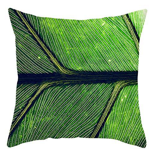 KnBoB Funda de Almohada Poliéster Verde Hoja 50 x 50 cm Estilo 7