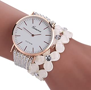 Ikevan Newest Fashion Leisure Womens Quartz Bracelet Watch Crystal Diamond Wrist Watch Jewelry Gift for Women Girls (White)