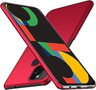 Google Pixel 5 ケース 【LASTE】Pixel 5 ケース 軽量 スリム 耐久性 薄型 PC 指紋防止 耐衝撃カ Pixel 5 レンズ保護 スマートフォンケース (レッド)