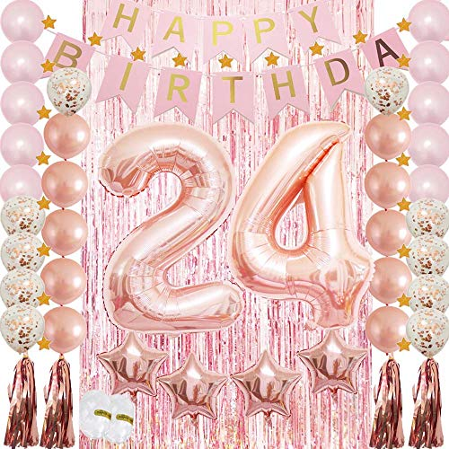 24th Birthday Decorations|24th Birthday Party Supplies Rose Gold-Confetti Latex Balloon,Tassel Garland,Tinsel Foil Fringe Curtains,Happy Birthday Banner as Gift, Favors,Photo Booth Props for Her Girl