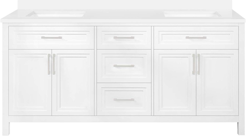 Philadelphia Mall OVE Decors Laney 72 in. Double in White Vanity Bathroom Max 83% OFF Sink