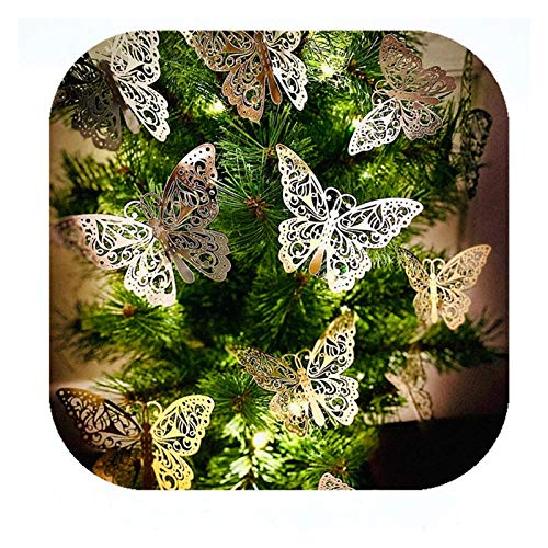 X-LSWAB 24 Pieces Christmas Tree Topper Classic Butterfly Decorations Cards Cherish Gold & Silver Sparkle Theme For Christmas Party New Year Holiday Home Decor Gift (Color : Butterfly, Size : 2Pcs)