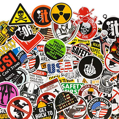 100 pieces Hard Hat Stickers Funny Stickers for Tool Box Helmet Welding Construction Union Iron Worker Lineman Oilfield Electrician, Make People Laugh At Work (Basic Style)