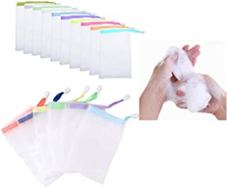 DMtse 10 PCS Exfoliating Mesh Handmade Soap Pouch Bubble Foam Net Soap Sack Saver Pouch Drawstring Holder Bags Double Laye...