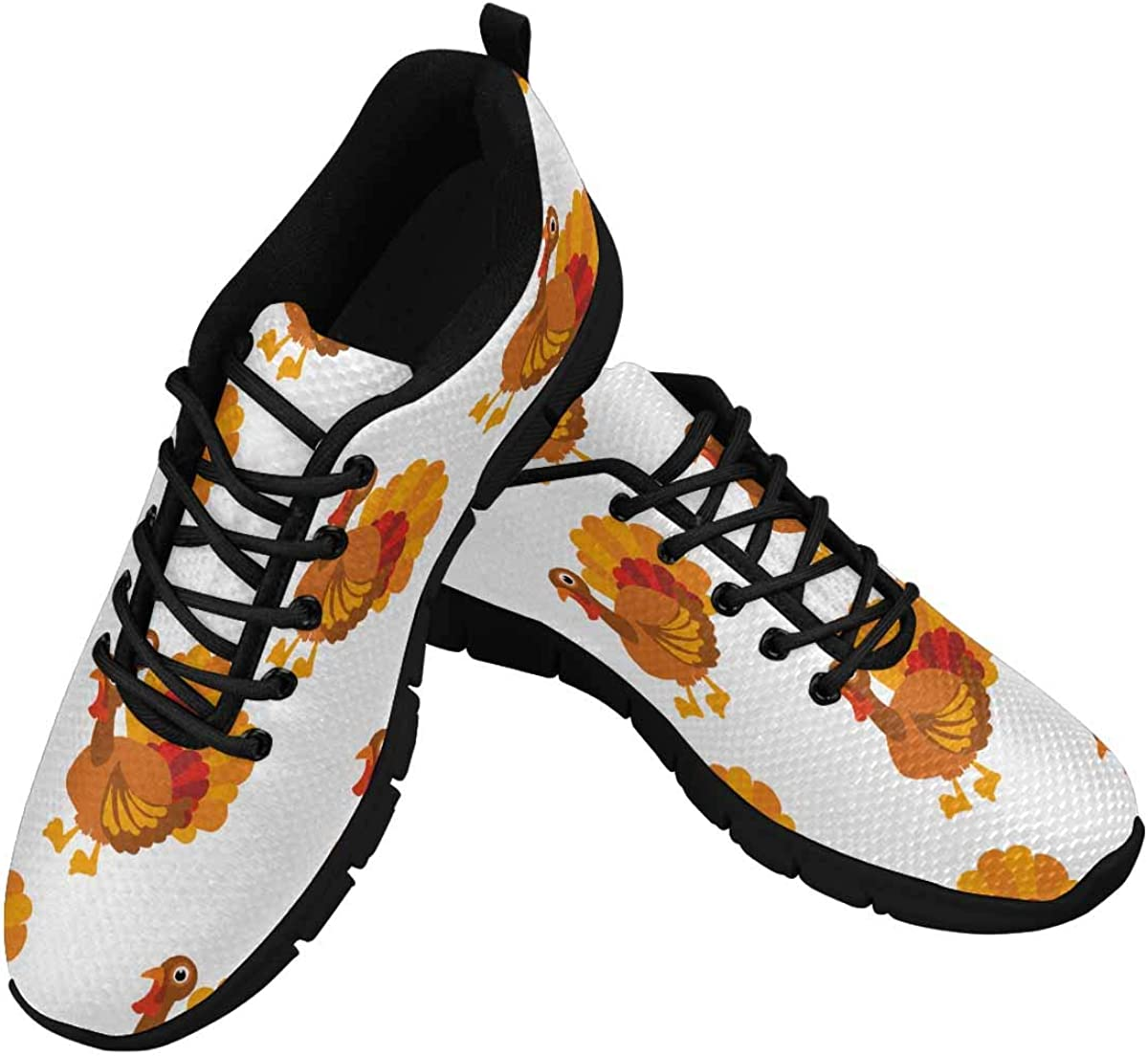 INTERESTPRINT Thanksgiving Turkey Background Women's Running Shoes Mesh Breathable Sports Casual Shoes