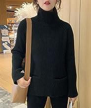 Dames Trui - Mode Dames Herfst En Winter Gebreide Trui Retro Zak Decoratie Hoge Hals Warme Trui Met Lange Mouwen Slim Fit ...