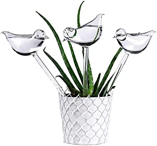 Aptech 3 Pack Plant Waterer Self Watering Globes,Bird Shape Hand Blown Transparent Mini Durable Clear Glass Aqua Bulbs