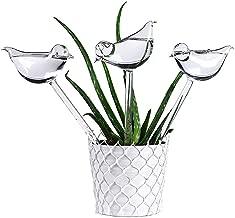Aptech 3 Pack Plant Waterer Self Watering Globes,Bird Shape Hand Blown Transparent Mini Durable Clear Glass Aqua Bulbs