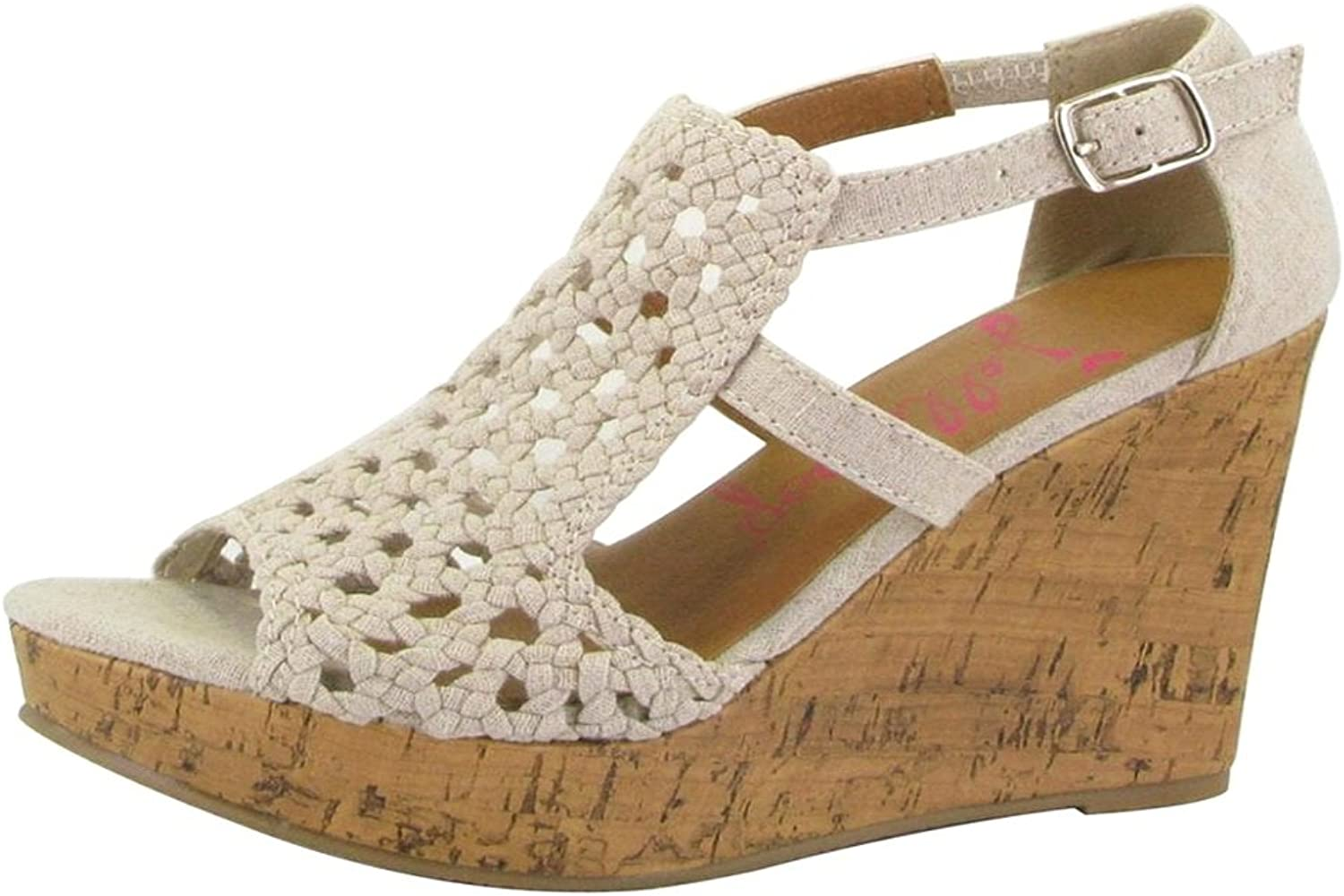 Jellypop Yvonne Womens Wedge Platform Sandals Natural Linen 9