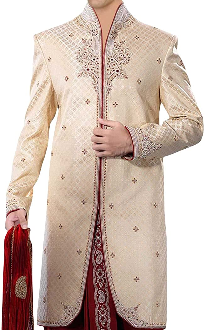 INMONARCH Mens Ivory 3 Pc Indo Western Suit Wedding Embroidered IN212