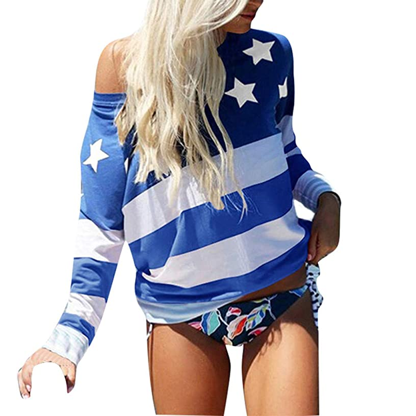 Tsmile Women American Flag Long Sleeve Tshirt Casual Summer Camis Blouse Casual Loose T-Shirt