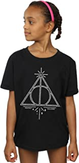 HARRY POTTER niñas Deathly Hallows Symbol Camiseta 9-11 Years Negro