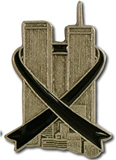 StockPins Twin Towers with Black Ribbon Lapel Pin