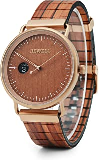 BEWELL Wooden Watches for Men Analog Quartz Movement Dress Wristwatches with Leather Band