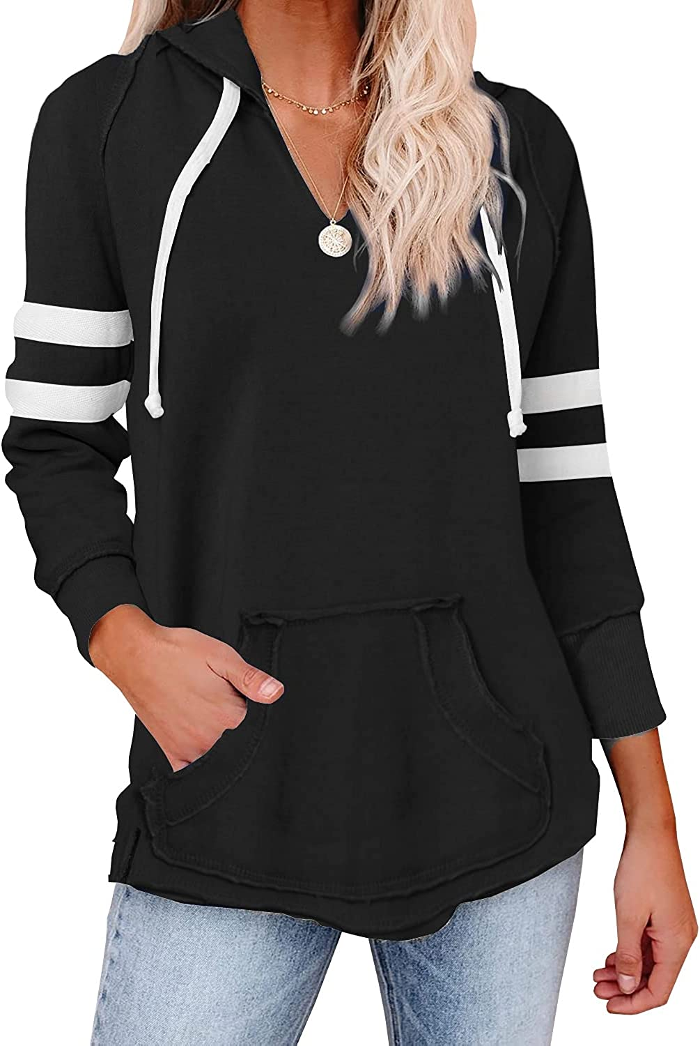 Womens V Neck Hoodies with Pockets Long Sleeve Striped Pullover Tops Sweatshirt