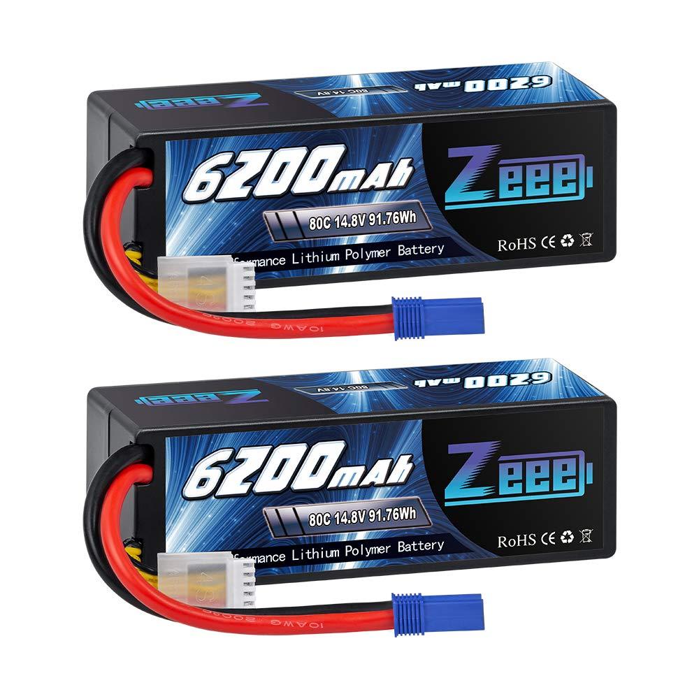 2 Baterias LIPO 14.8v 6200mah 80C 4S Ec5 Plug Zeee