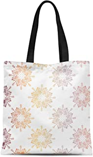 Semtomn Canvas Tote Bag Shoulder Bags Baby Purple Announcement Floral Lace Toile Med Pinks White Women's Handle Shoulder Tote Shopper Handbag
