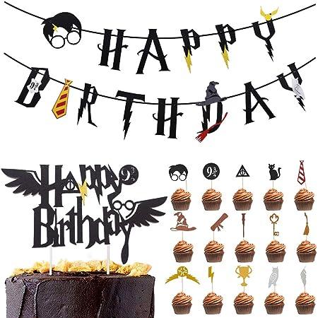 Amycute 17 Pezzi Wizard Compleanno Decorazioni, Buon Compleanno Striscioni e Cupcake Topper per Torta, Festa di Compleanno per Bambini