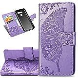 COTDINFOR Etui für LG K50 Hülle PU Leder Cover Schutzhülle Magnet Tasche Flip Handytasche im Bookstyle Kartenfächer Lederhülle für LG K50 Flower Butterfly Light Purple SD
