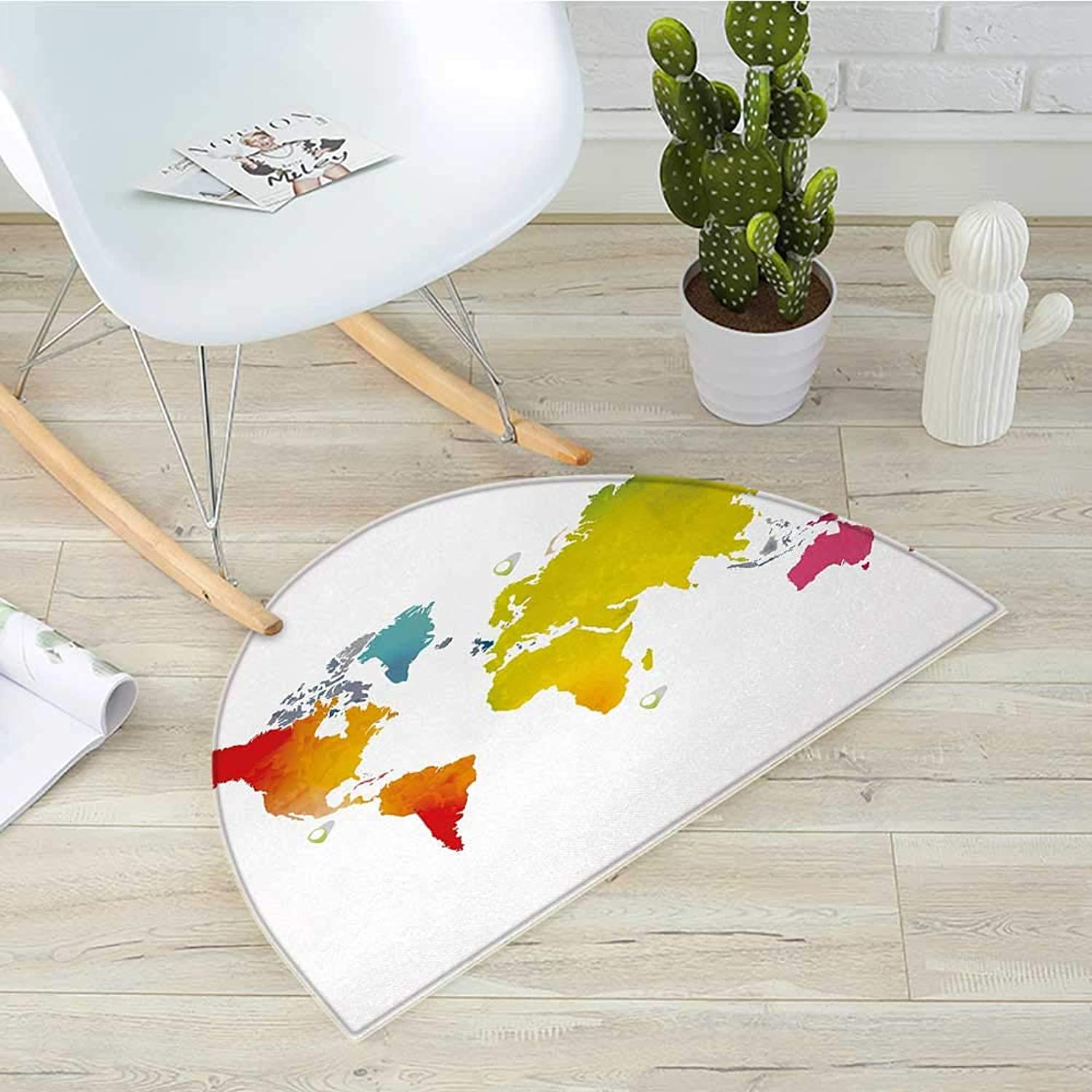Map Semicircular CushionContinents of World in Vibrant Watercolors Artistic Graphic Design International Theme Entry Door Mat H 39.3  xD 59  Multicolor