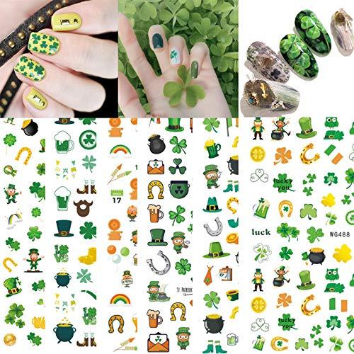 7Sheet St. Patrick's Day Nail Sticker Green Shamrock Applique Irish Day Women's Ornaments Shamrock Fake Nail Applique Manicure Technique DIY Holiday Atmosphere Sticker Decoration