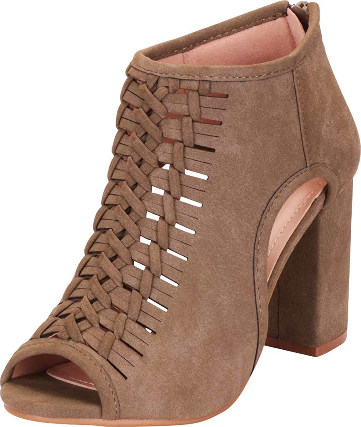 Cambridge Select Women's Open Toe Laser Cutout Whipstitch Block High Heel Ankle Bootie