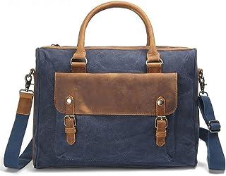 Men's Accessories Office Vintage Style 13 Inch Laptop Handbag Casual Business Briefcase Shoulder Messenger Satchel Bag,Blue/Brown/Gray/Green/Khaki Outdoor Recreation (Color : Blue)
