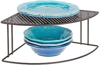 mDesign Balda de cocina – Soporte para platos redondeado para rincones de encimeras e interiores de armarios – Estante separador con dos alturas para aprovechar el espacio al máximo – color bronce