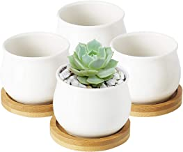 Greenaholics Succulent Plant Pots - 2.76 Inch Ceramic Round Container for Mini Succulents, Cactus, Small Flower Pots with Bamboo Trays, Set of 4, White