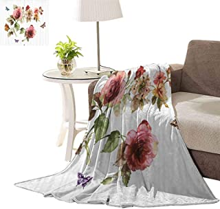 williamsdecor Light Weight Plush Luxurious Super Soft Blanket, Shabby Chic Roses Buds Pattern Design Blanket Cozy Fuzzy Anti-Static Throw Blanket for Couch Chair All Seasons, 50x60 Inch