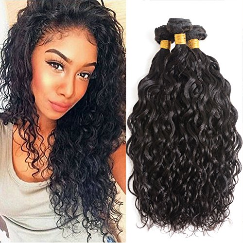 Brazilian Water Wave Hair 3 Bundles Wet and Wavy Human Hair Bundle Deals Ocean Wave Human Hair Weave Extensions Remy Hair Bundles Brazilian Water Curly Hair